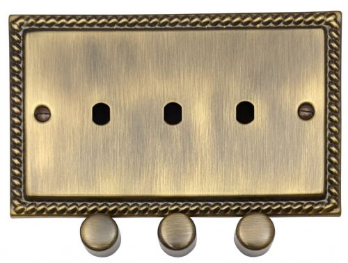 G&H MAB13-PK Monarch Roped Antique Bronze 3 Gang Dimmer Plate Only inc Dimmer Knobs